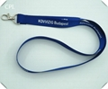 Blue color polyester lanyard with white text for ID holder