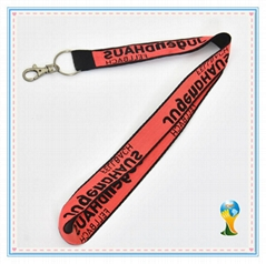 Woven lanyard in two colors one side logo woven text