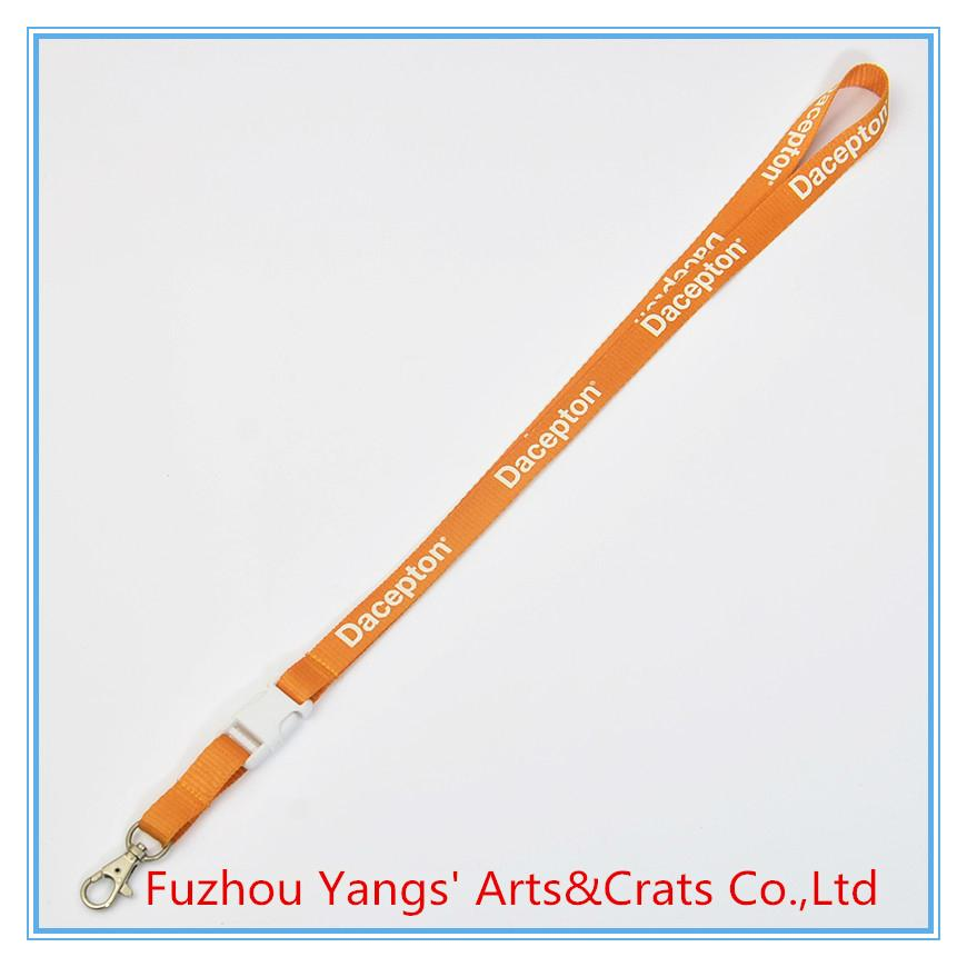 Nylon material lanyard with white detachable buckle release