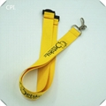Polyester neck strap lanyard with J hook and connector