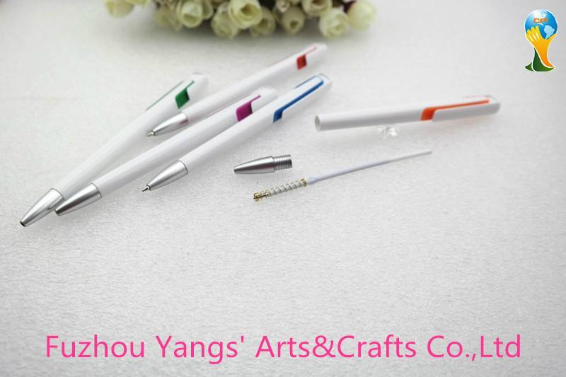 White color plastic point touch pen with decoration color part 3