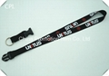 Black polyester neck strap with key ring on the end