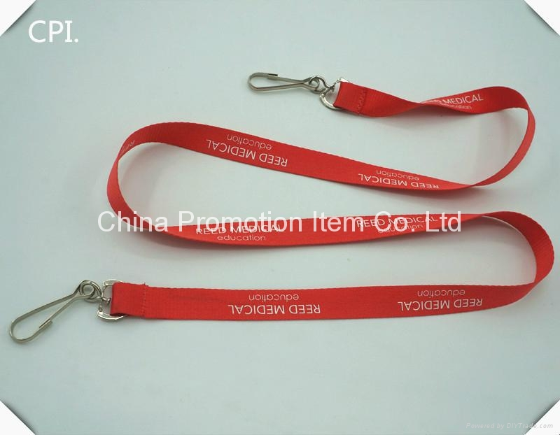 Polyester red lanyad with double swivel J hook