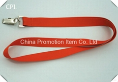 Cheap polyester red lanyard with bulldog dlip for name tag holder
