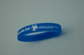 Cheap simple blue silicone wristband with one color logo printed on