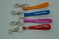 Custom polyester different colors short lanyard keychain