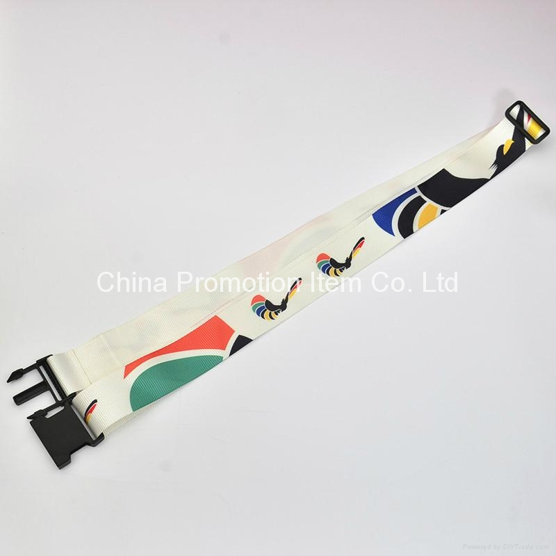 High quanlity nylon naterail luggage strap belt with heat transfer logo