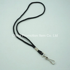 Black blank rope lanyard without any logo design for name tag holder