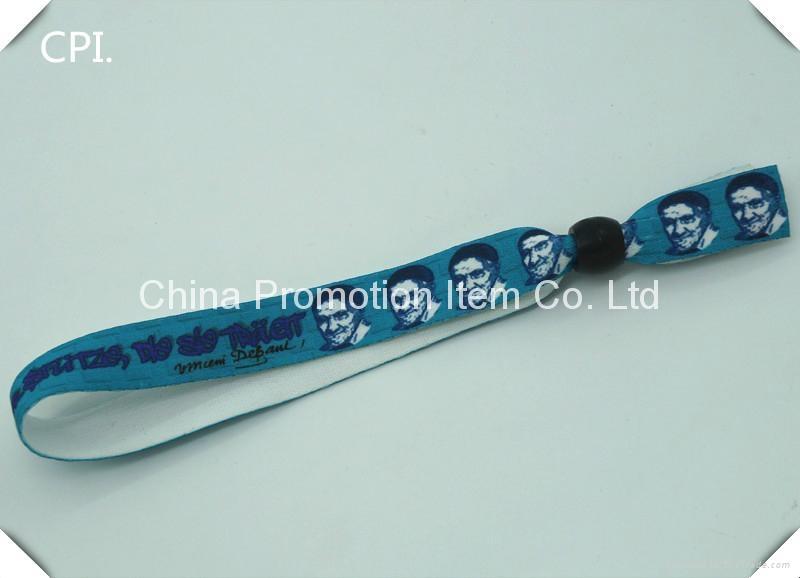 2016 one side logo printing sublimation flat polyester wristband 2
