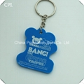 Promotion beautiful plastic bear bus shape souvenir pvc keychain