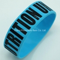 Blue silicon band with debossed logo