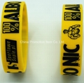 Yellow silicon band with debossed logo 2
