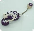 Custom purple flipflop stype white sakura logo USB flash drive for promotion