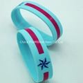 Blue bracelet with 2 colors silk screen