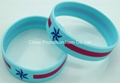 Blue bracelet with 2 colors silk screen printing logo