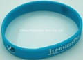 Blue wristband with silk screen printing 2 colors logo