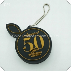 Cute black round usb flash drive with gold embossed logo