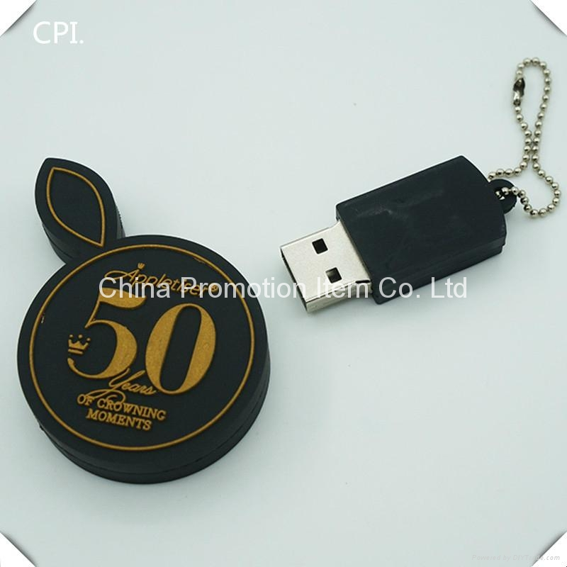 Cute black round usb flash drive with gold embossed logo 2