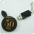 Cute black round usb flash drive with gold embossed logo 3