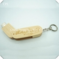 Bulk wooden USB flash drive with laser logo printed on
