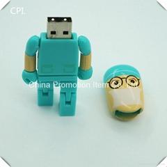 Top sale cute human being cartoon role plastic usb flash drive stick