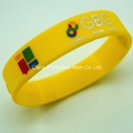 Yellow silicone bracelet with custom
