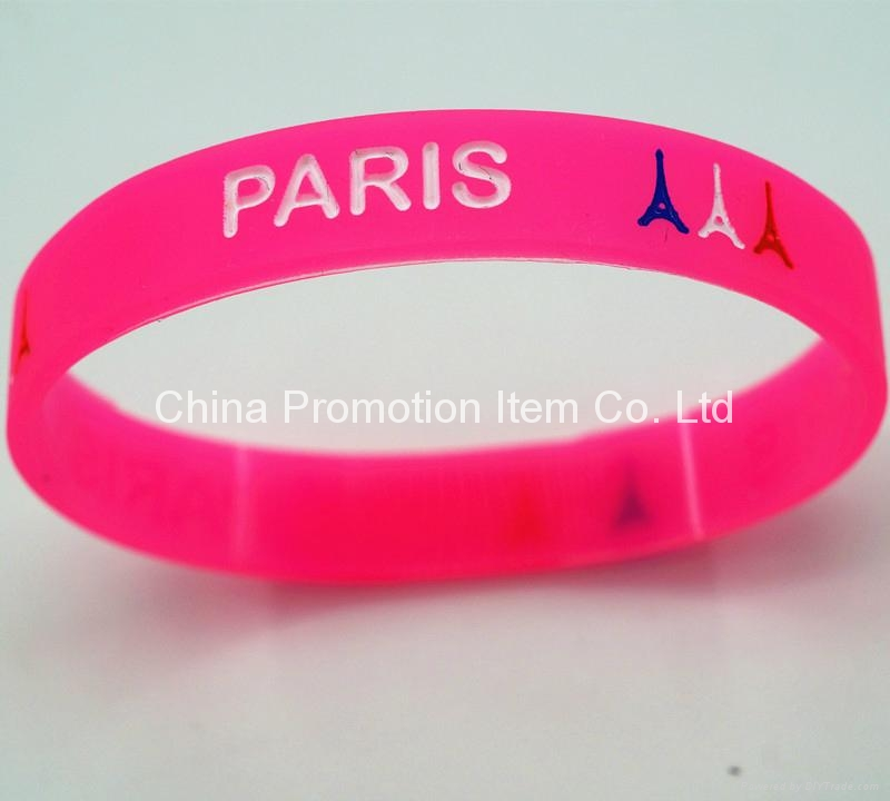 Rose red silicone bracelets for girls 1