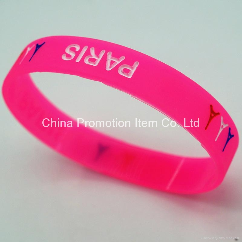 Rose red silicone bracelets for girls 3