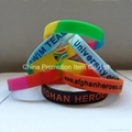 silicone wristband with debossed and oil filled logo