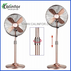 "Calinfor 16"" antique brass round base height ajustable metal stand fan"