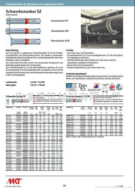 供應 德國曼卡特8.8級鍍鋅鋼型號SZ-S 套管型抗震動自切底錨栓 1