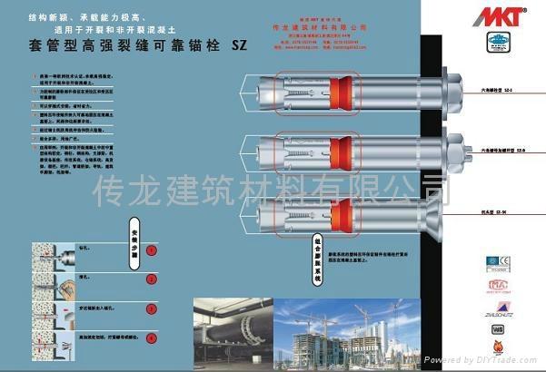 供應 德國曼卡特8.8級鍍鋅鋼型號SZ-S 套管型抗震動自切底錨栓 2