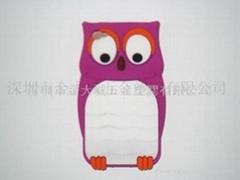 香港自定生产硅胶猫头鹰手机套 iphone手机套