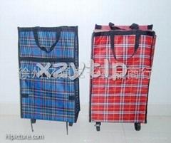(022)可折疊滑輪普通型彩格防水牛津布便攜購物托包33X5