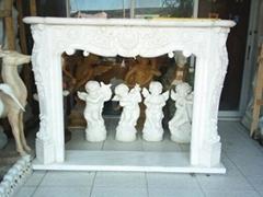 杭州汉白玉花草壁炉雕塑