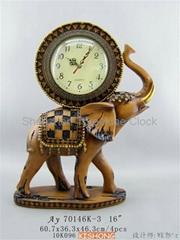 Woodcarving elephant clock