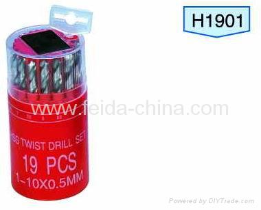 19pcs HSS twist drill set, in round plastic box 1