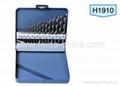 HSS twist drill bit set in Metal box, 19 pcs