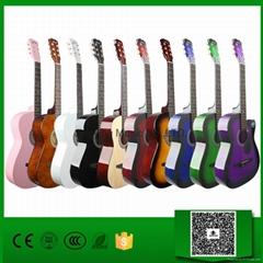 """Wholesale 38"""" Acoustic Guitar, 10 Colors Available"""