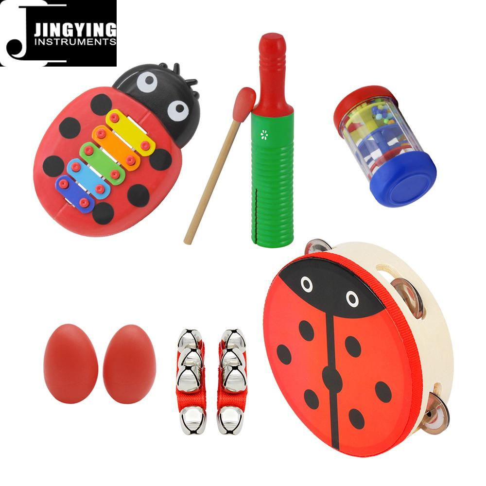 Percussion instrument toy rhythm band set for kids, Orff musical instrument set  5