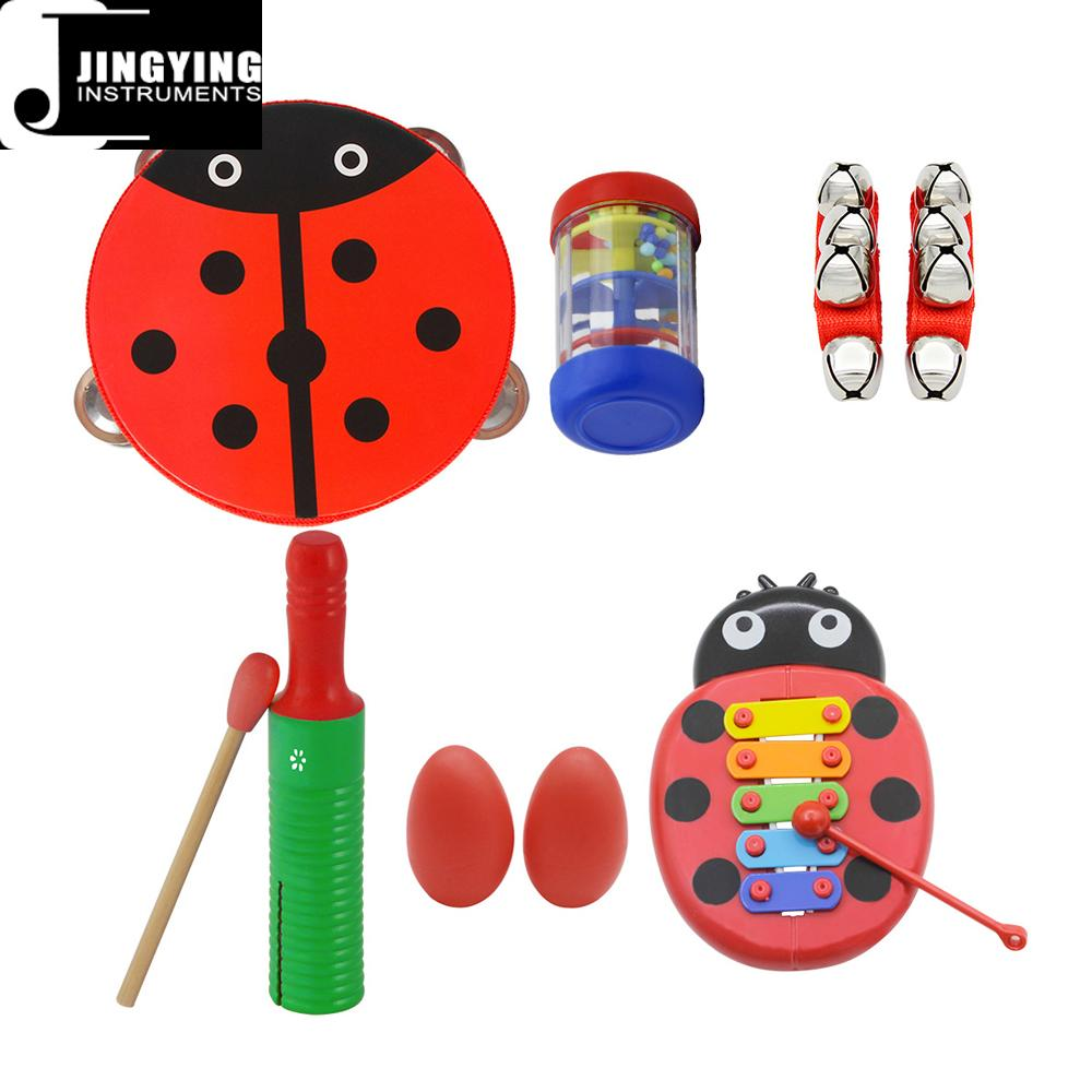 Percussion instrument toy rhythm band set for kids, Orff musical instrument set  6