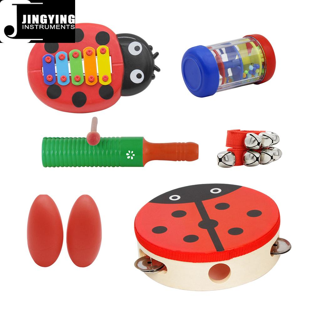 Percussion instrument toy rhythm band set for kids, Orff musical instrument set  7