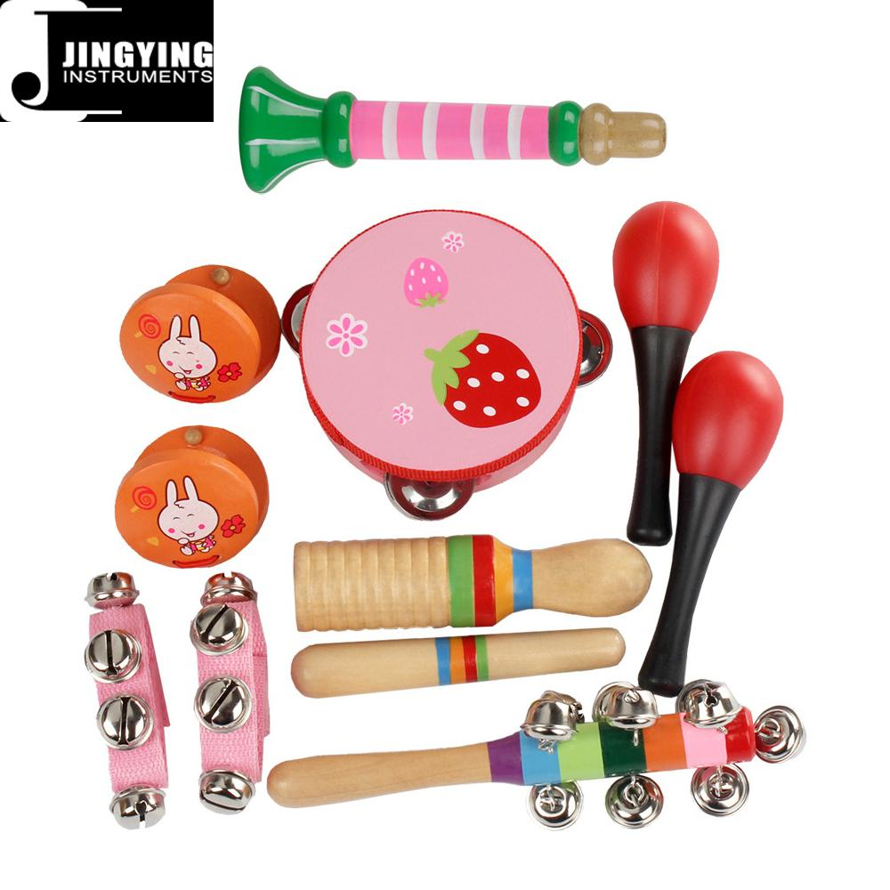 Pink and Blue Color Orff Toy 10 Sets, Kids 10 PCS Percussion Toy Set
