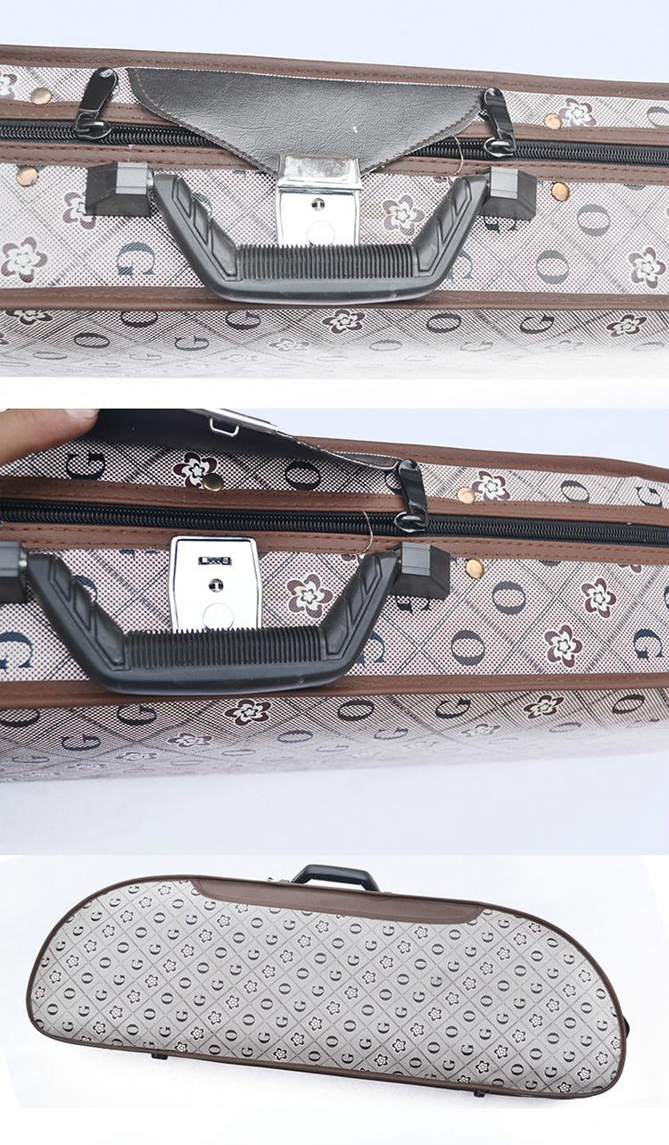 Waterproof Fabric Semi-round Violin Case with locking 2
