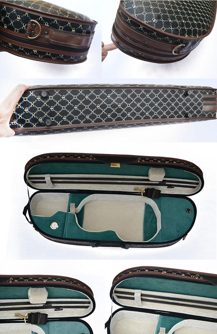 Waterproof Fabric Semi-round Violin Case with locking 6
