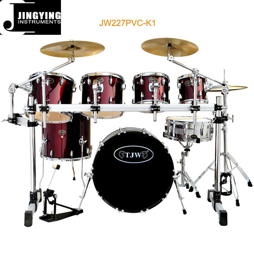 7pcs PVC Cover 9-ply Birch+Poplar Shell Drum Kits 1
