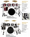 7pcs PVC Cover 9-ply Birch+Poplar Shell Drum Kits 3
