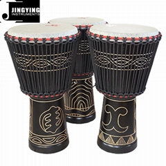 12 Inch West African Mosaic Carved African Drums