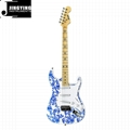 Wholesale Pretty Stickers on Top S T Style Electric Guitars Factory