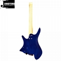 High Quality Ash Body with Flamed Maple Veneer Headless Electric Guitars